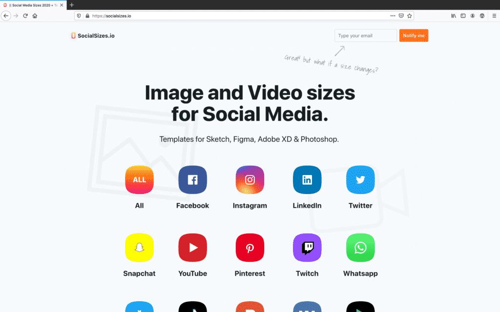 Screenshot of SocialSizes.io homepage